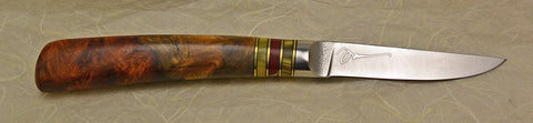3 inch Paring Knife with 'Wild Roses' Etching and Amboyna Burl Handle.