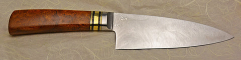 6 inch Chef's Knife with 'Sunflower' Etching and Ironwood Burl Handle.