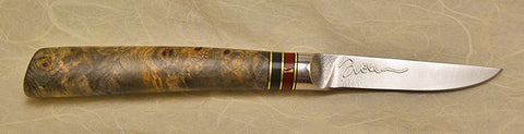 3 inch Paring Knife with 'Sunflower' Etching and Buckeye Burl Handle.