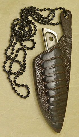 Boye Sub-Basic with 'Bobcat in the Ferns' Etching and Dark Brown Ostrich Double-sided Neck Sheath.