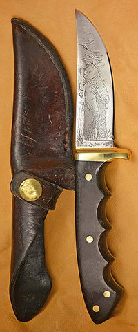 "Boye-made L6 Sawblade Steel 4"" Hunter/Skinner with Standing Grizzly Custom Etching, circa 1977."