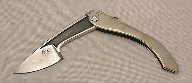 Boye Large Tweezerlock Folding Pocket Knife with Plain Etched Blade.