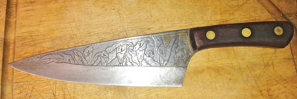 6 inch Chef's Knife with Calla Lilies Custom Etching.  Very early work.