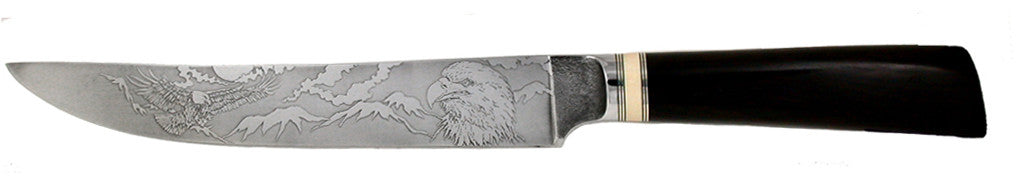 8 inch Carving Knife with 'Eagles' Etching.