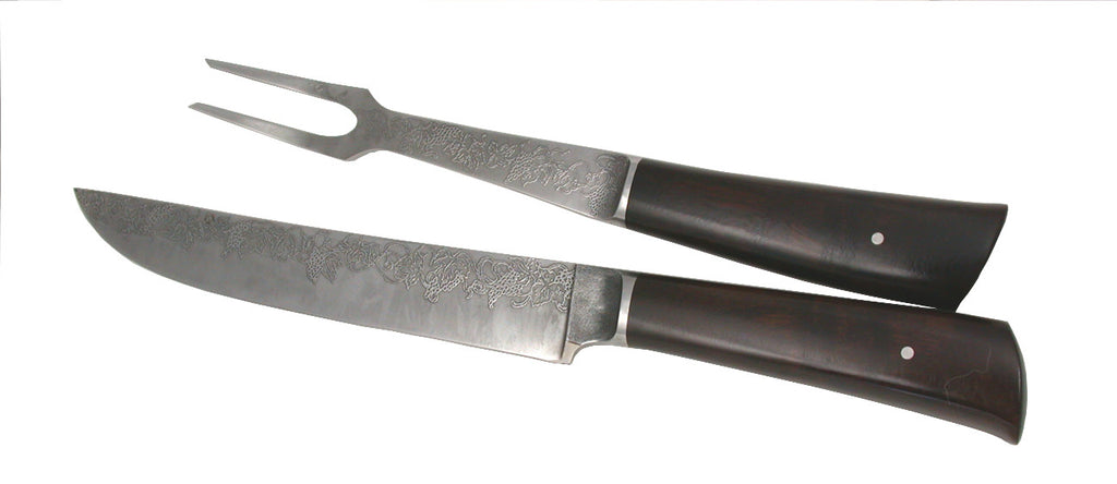 8 inch Carving Set with 'Grapevine' Etching.