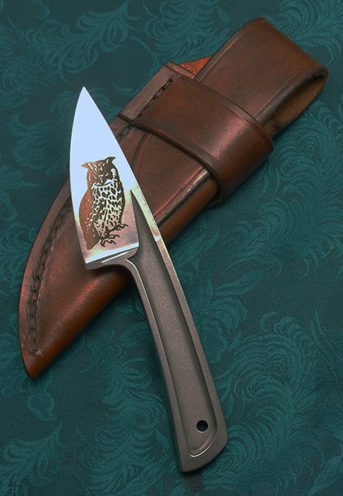 Boye Basic 2 Cobalt with Great Horned Owl Laser Etching and Brown Leather Flap Sheath.