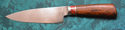 6 inch Chef's Knife with Original Dendritic Cobalt Blade with Cast Dendritic Pattern, and Exhibition Desert Ironwood  Handle.
