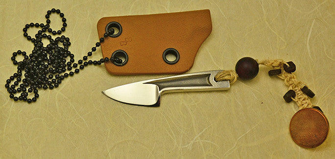 Boye Cobalt Basic Photon with Kydex Neck Sheath and Antique Button Lanyard.