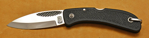 Boye Cobalt Basketweave Lockback Folding Pocket Knife with Black Handle.