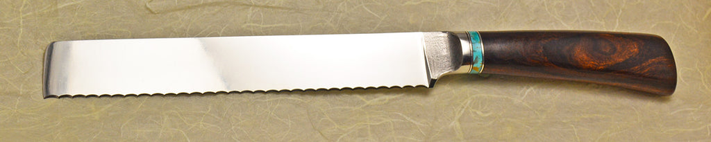 8 inch Bread Knife with Dendritic Cobalt Blade and Ironwood Burl Handle.