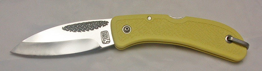 Boye Cobalt Basketweave Lockback Folding Pocket Knife with Yellow Zytel Handle.