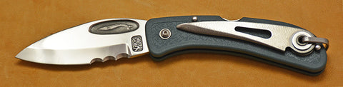 Boye Cobalt Blue Whale Lockback Folding Pocket Knife with Blue Handle, Serrations, and Marlin Spike-2.
