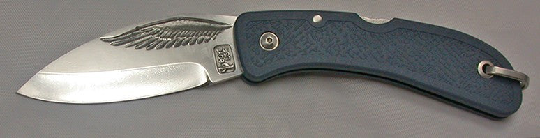 Boye Cobalt Eagle Wing Lockback Folding Pocket Knife with Blue Handle.