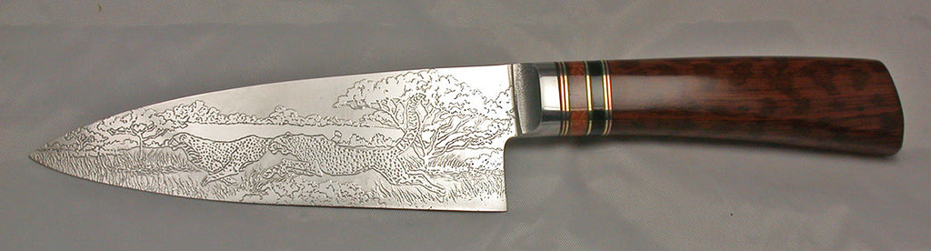 6 inch Chef's Knife with 'Cheetahs' Etching.