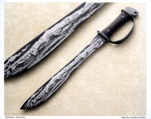 15 inch Bush Knife by Don Norris with 'Cheetahs and Impalas' Etching.