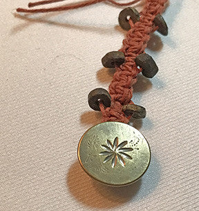 Rust Color Waxed Hemp Macrame Lanyard and Antique Tombac Button with Engraved Flower Design & 6 Ancient Stone Beads
