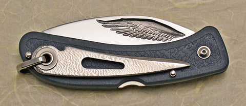 Boye Cobalt Eagle Wing Lockback Folding Pocket Knife with Blue Handle & Marlin Spike.