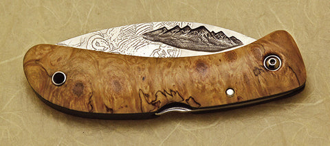 Boye Custom Mountains Lockback Folding Pocket Knife with 2 'Barn Owl' Etchings.