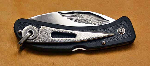 Boye Cobalt Eagle Wing Lockback Folding Pocket Knife with Black Handle & Marlin Spike.