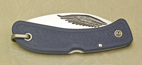Boye Cobalt Eagle Wing Lockback Folding Pocket Knife with Blue Handle - 2.
