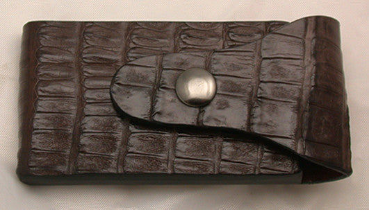 Dark Brown Croc Belt Sheath for Wide-Blade Lockback Folding Pocket Knife.