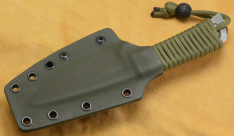 Boye Basic 3 Cobalt with Green Cord-Wrapped Handle, Olive Drab Kydex Sheath & Tek Lok.