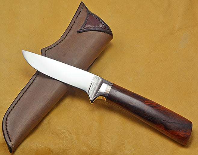 4 inch Dropped Point Hunter with Dendritic Cobalt Blade and Cocobolo Handle.