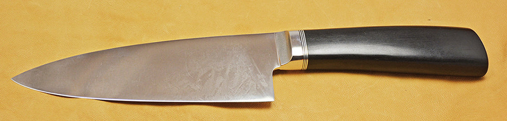 6 inch Chef's Knife with Dendritic Cobalt Blade and Ebony Handle.