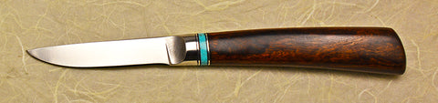 3 inch Paring Knife with Dendritic Cobalt Blade and Desert Ironwood Handle.