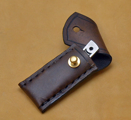 Boye Cobalt Basic Photon with Brass-lined Leather Sheath.