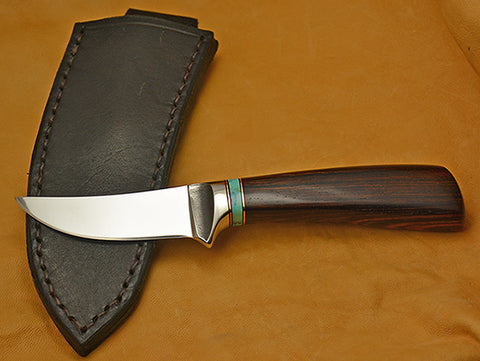 3 inch Trailing Point Skinner with Dendritic Cobalt Blade & Cocobolo Handle.