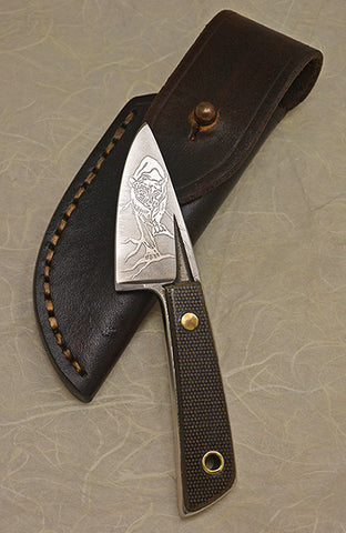 Boye Basic 1 with 'Cougar' Etching, Micarta Handle and Leather Sheath.