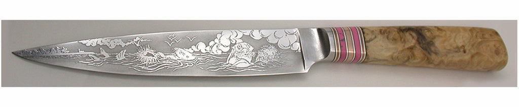 7 inch Slicing Knife with 'Sea Otters' Etching.