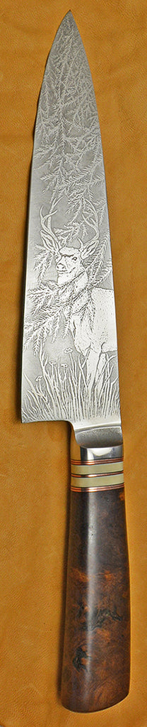 8 inch Chef's Knife with 'Mule Deer at the Edge of the Redwoods' Etching.