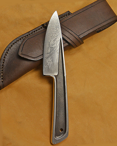 Boye Basic 3 with 'Deer at the Edge of the Redwoods' Etching and Leather Sheath-2nd.