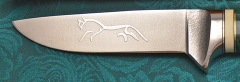 4 inch Dropped Point Hunter with 'Celtic Horse' Etching.