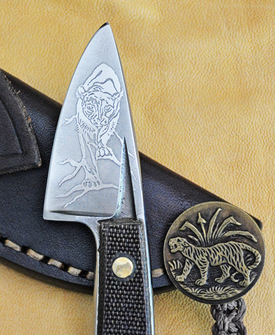 Boye Basic 1 with 'Cougar' Etching, Micarta Handle, Antique Stamped Brass Tiger Lanyard, and Leather Sheath.