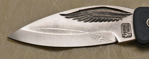 Boye Eagle Wing Lockback Folding Pocket Knife with 'Feather' Etching and Blue Handle.