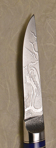 3 inch Paring Knife with 'Heron' Etching and Buckeye Handle - 3.