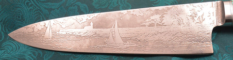 8 inch Chef's Knife with 'Lighthouse with Sailboats' Etching, Amboyna Burl Handle.