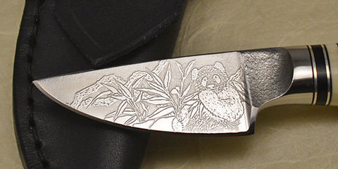 2 inch Dropped Edge Utility Knife with 'Panda' Etching.