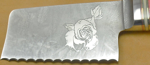 4 inch Serrated Cheese Knife with 'Single Rose' Etching.