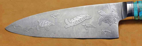 6 inch Chef's Knife with 'Sea Turtles' Etching and Buckeye Burl Handle.