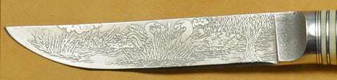 4.5 inch Kitchen Utility Knife with 'Swans' Etching and Buckeye Burl Handle.
