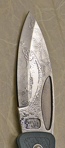 "Boye Prophet Lockback Folding Pocket Knife with ""Trout"" Etching and Blue Zytel Handle with Marlin Spike."