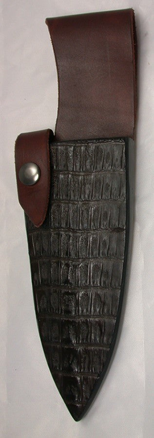 Dark Brown Croc Belt Sheath for 6 inch Chef's Knife