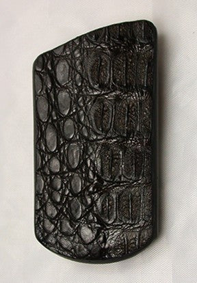 Dark Brown Croc Pouch Sheath for Narrow-blade Lockback Folding Pocket Knife.