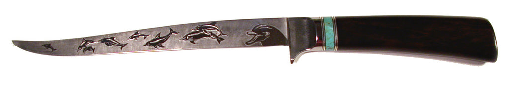 7.25 inch Filet Knife with 'Dolphins' Etching.