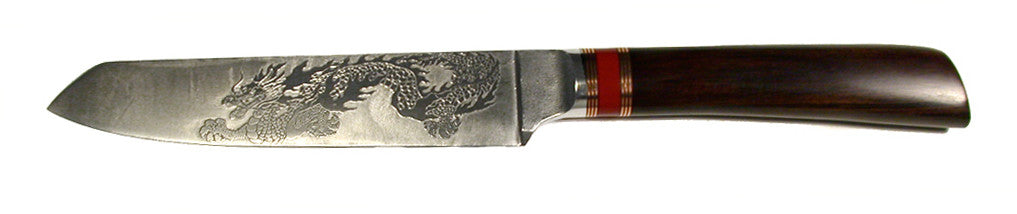 6.25 inch Slicing Knife with Katana Tip and 'Dragon' Etching.