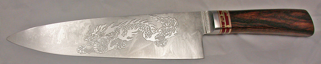 8 inch Chef's Knife with 'Dragon' Etching - 2.